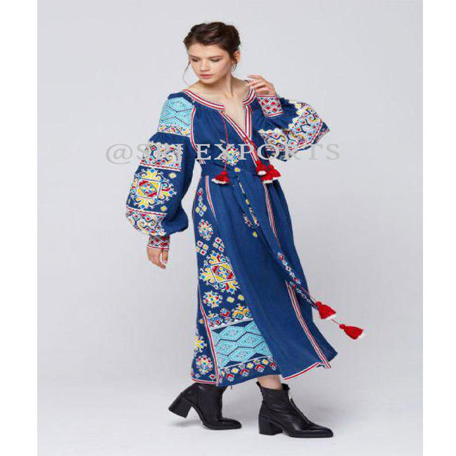 Premium Designer Long Linen Dress For Women Ancient Ukrainian Symbolism Woven Into Stylish Clothes Of An Exclusive Collection