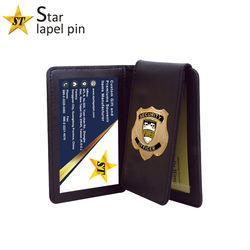 Wholesale Security Federal Agent Style Badge Recessed Leather Wallet