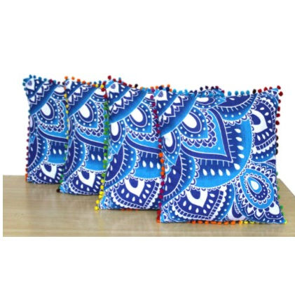 Flower Mandala Cotton Set of 4Pcs Square Cushion Cover