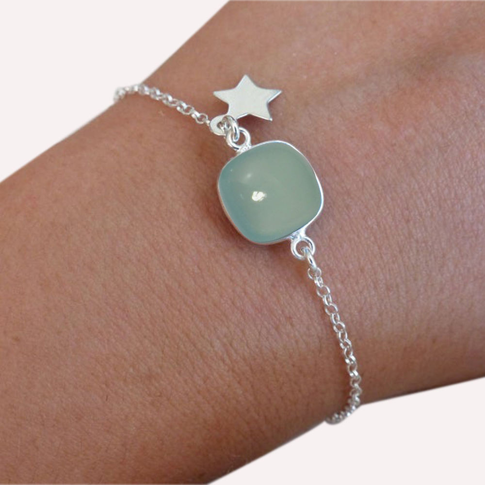 Natural Aqua Chalcedony solid 925 Sterling silver Star Bracelet For Wholesale supply