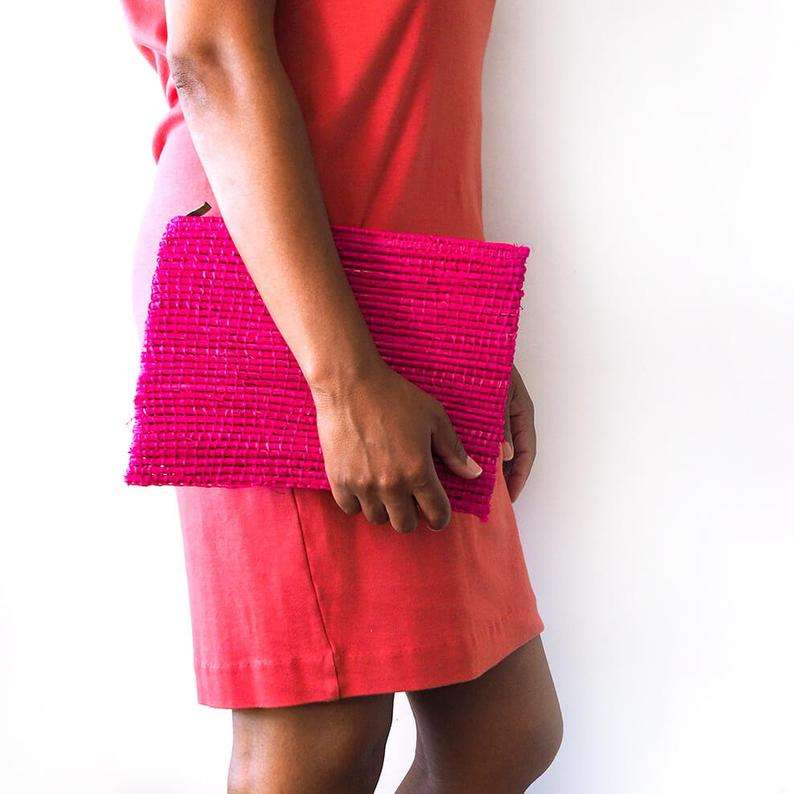 Moroccan Raffia Clutch Bag