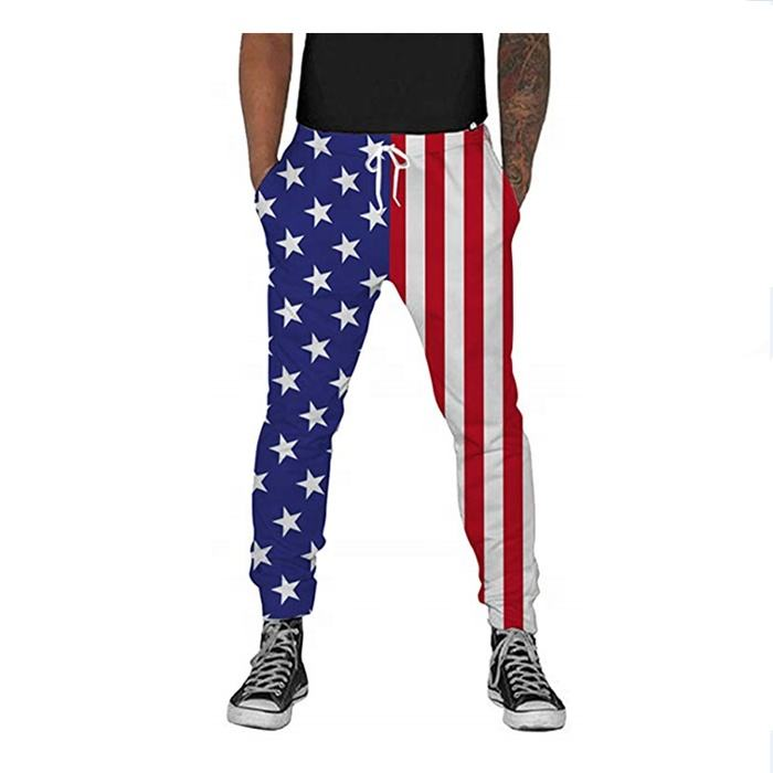 Men Autumn Fashion High Waist Printed Flag Striped Five Pointed Star Trousers Wide Leg Pants For Menの