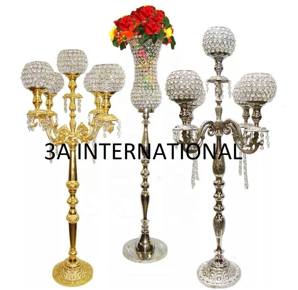 Royal Design Gold And Silver Plated Crystal Candle Stand Candelabra For Luxury Hotels Restaurants And Wedding Decoration