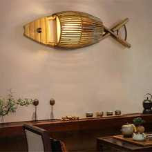 HANDITEX  Arturest Vintage Countryside Bamboo Wall Light  fish shaped bamboo lamp