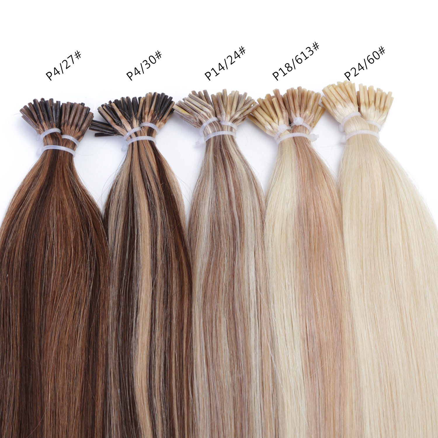 Free Sample Mix Light Color I Tip Human Hair Straight Double Drawn Pre bonded Hair Extensions I Tip