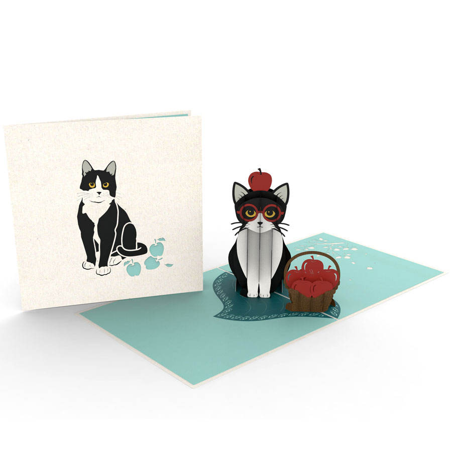 Handmade Laser Cut Greeting Card Tuxedo Cat Pop Up Animal Cards 3D Wholesale Vietnam