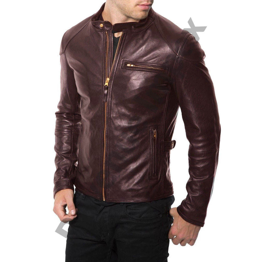 Center zipper online leather jacket