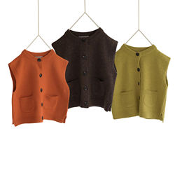 DE MARVI Toddler Kids Knitted Vest with Button Pockets Girls Boys Sleeveless Sweater Autumn Clothes OEM Wholesale MADE IN KOREA