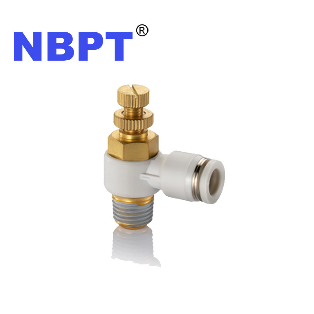 Push to Connect Metric Inch Tube Size BSPT BSPP NPT Thread Air Flow Speed Control Pneumatic Fittings by NBPT