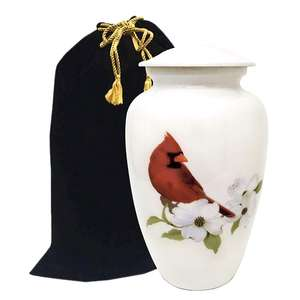 Cardinal Bird Cremation Urns for Human Ashes - Large Metal Hand Painted Burial and Funeral Cremation Urn - Red Solid Metal Urn