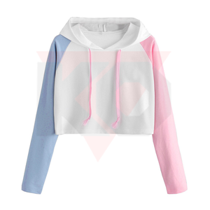 OEMโลโก้Cotton Crop Top Hoodieออกแบบล่าสุดLady Pullover Crop Top Hoodies