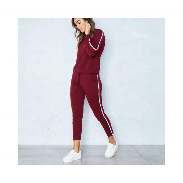 New Fashion set women cotton fabric Slim fit Sportswear tracksuit