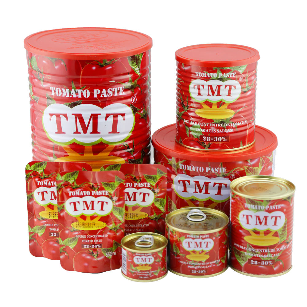canned tomato paste in tin top quality concentration 26-28% Available In Stock