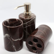 3 - Piece Red Marble Bathroom Accessories