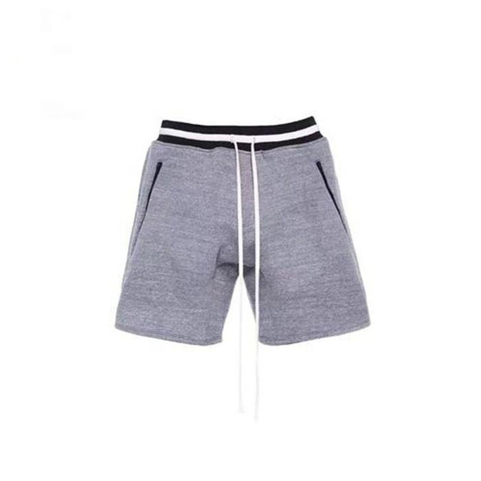 High Quality Fashion Men 100% Cotton Sweat Shorts Zip Pocket Black And White Waist Men's Casual Shorts