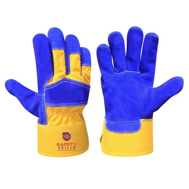 Premium Quality Work Gloves Blue cow split leather Gardening Landscaping With Safety Cuff For Construction Cowhide Leather