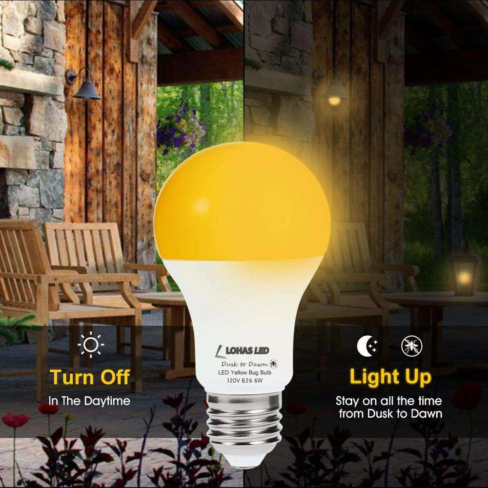 Amber Yellow A19 6W Mosquito Repellent Dusk to Dawn Sensor LED Bulb