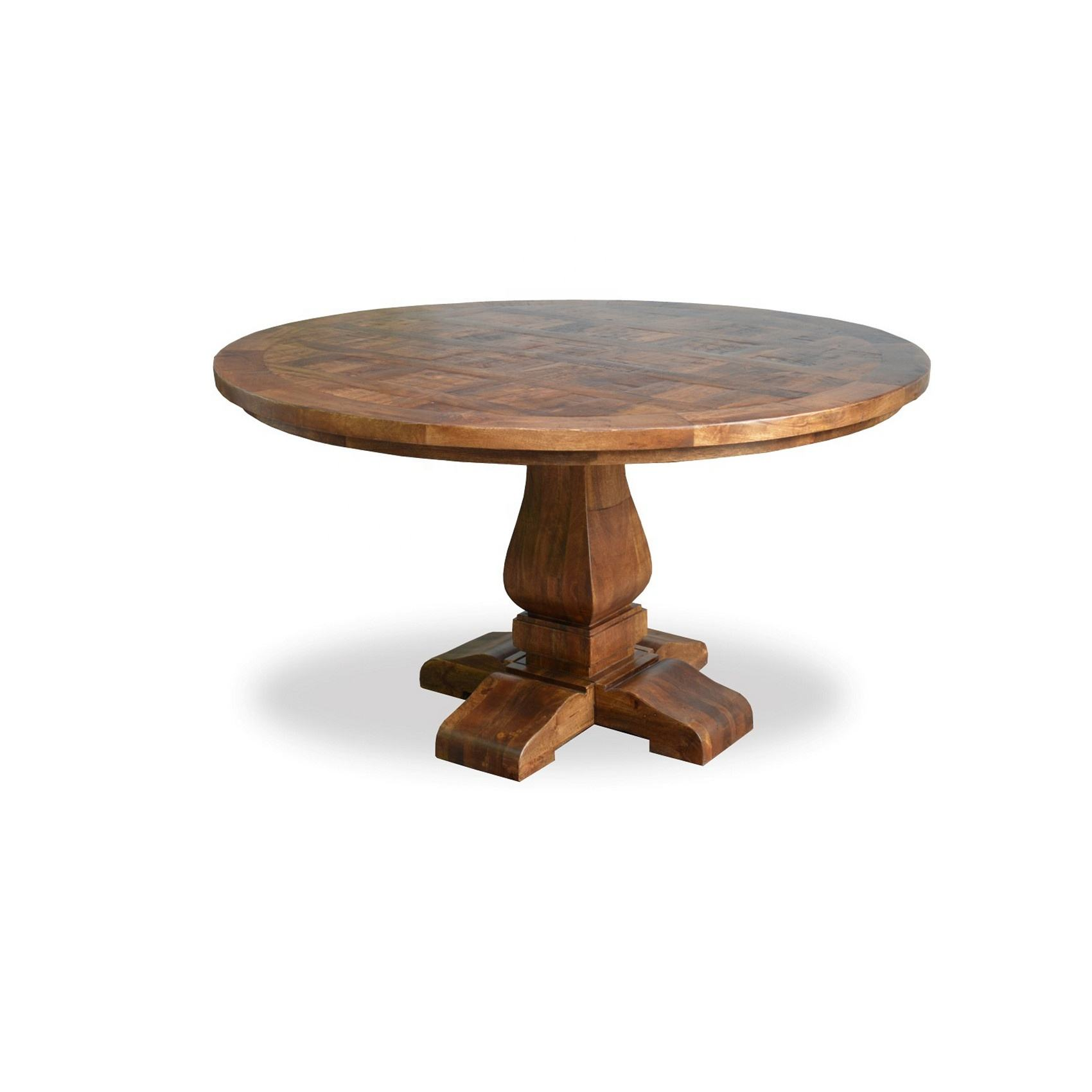 ROUND DINING TABLE W/ PEDESTAL BASE Mango Acacia Solid Wood Rustic Furniture Modern
