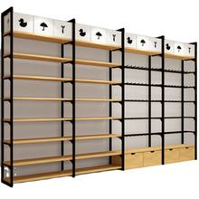 Retail Store Display Shelves Metal and Wooden Display Rack
