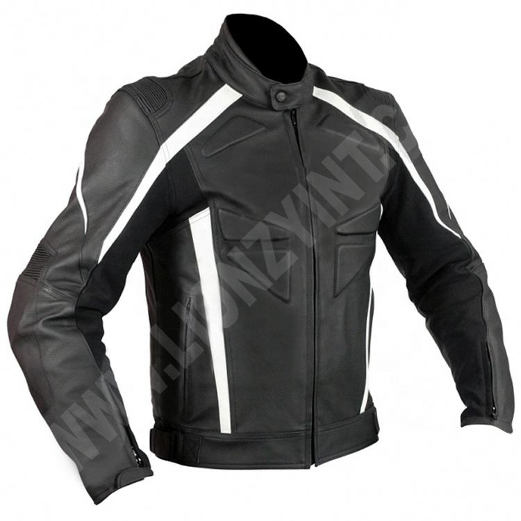 Top Quality Standard Cowhide Leather Motorbike Racing Jacket with CE Certified Armors