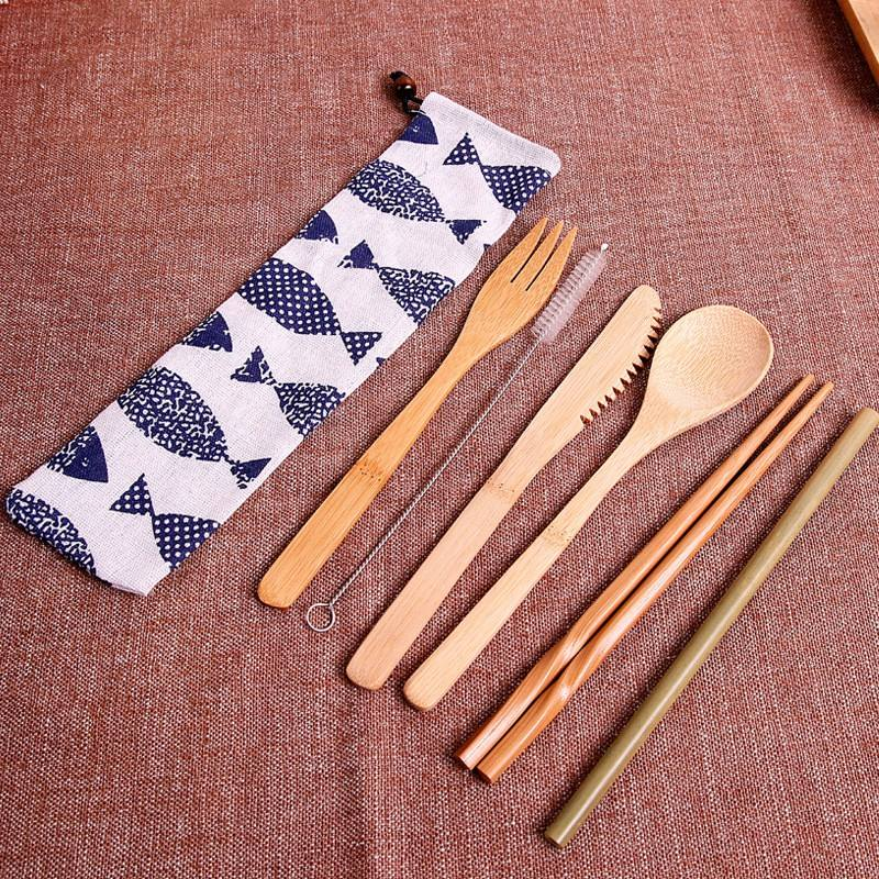 Eco-friendly travel cutlery set with canvas bag bamboo spoon utensil set