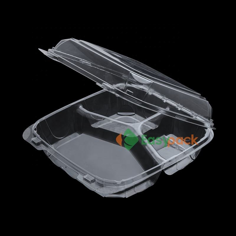 rPET pet plastic blister packaging food clamshell tray with 3 compartments