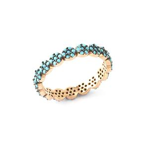 925 Crt Sterling Silver Handcrafted Turquoise Eternity Gold Plated Fashionable Ring Wholesale Turkish Jewelry