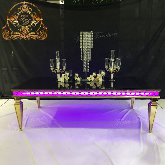 Rectangle golden stainless steel led luminous dining table