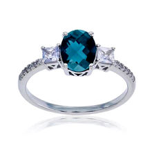 Women Jewelry Ring Fashion Gift 925 Silver Created Blue Sapphire and Created White Sapphire Ring