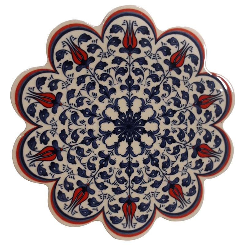 Ottoman Tiles Work Handcrafted Ceramic Trivet Detailing Traditional Red Tulip Flowers Decorated Navy Blue White Porcelain Trivet