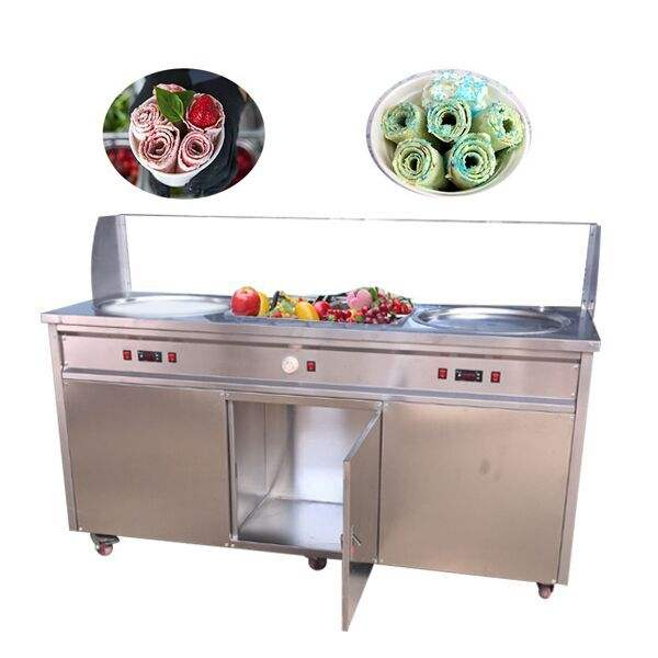 F700 Top quality double pan stainless steel ice cream rolls fried ice cream machine