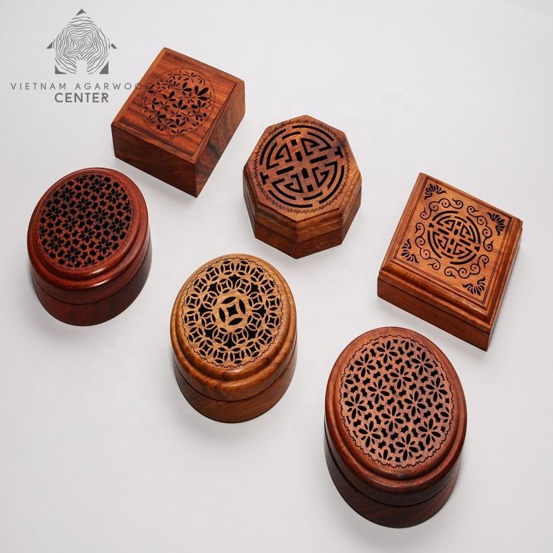 Vietnam Wood Elegent And Nice Pieces Agarwood Incense Coil Wooden Box Oud Burner
