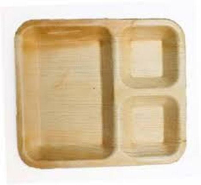 Cheap price 10 inches 3 compartment ecofriendly biodegradable areca palm leaf plates for export