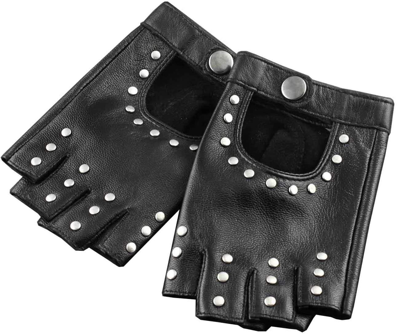 Womens Girls Rivet Biker Rock Party Fingerless Half Finger Leather Gloves