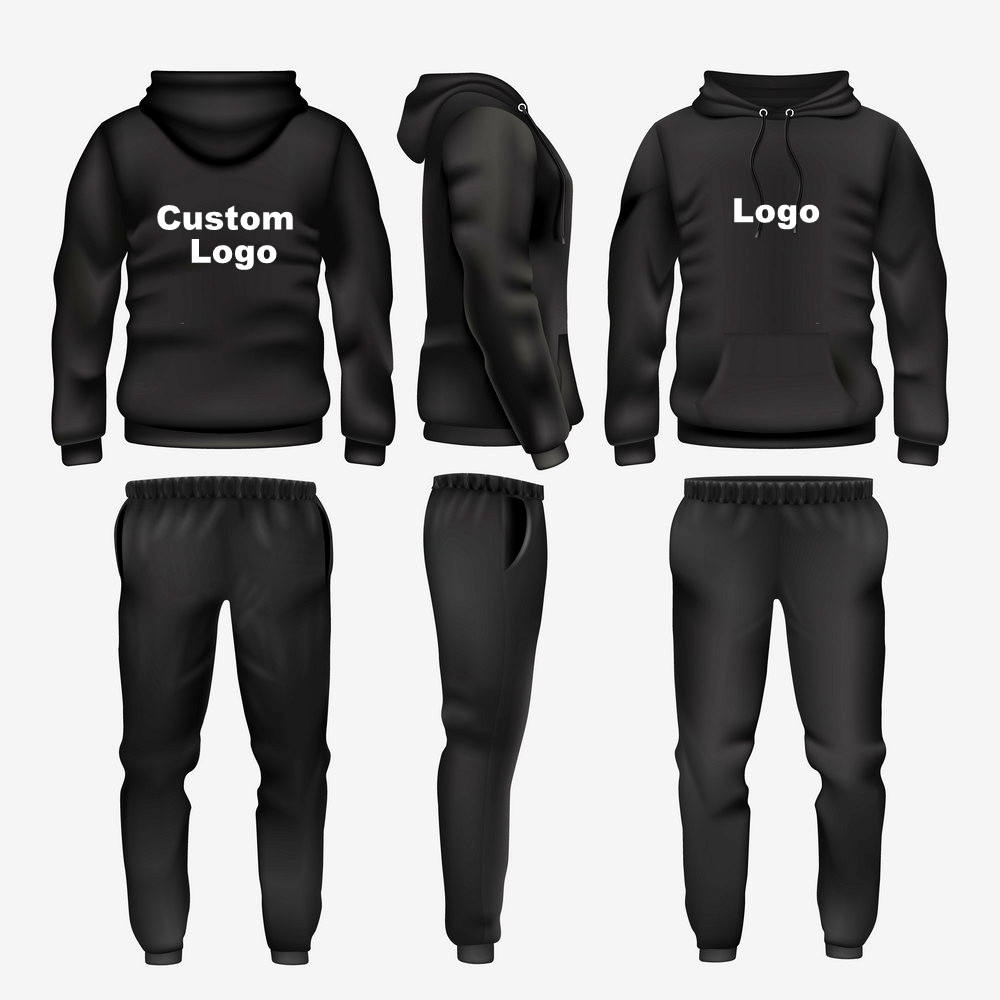Unisex Black Jogger Fleece Tracksuit with custom logo street wear fashion wear men adult tracksuit sweatsuit
