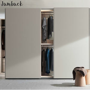 Simple sliding closet doors laminate finish wardrobe design with many shelves