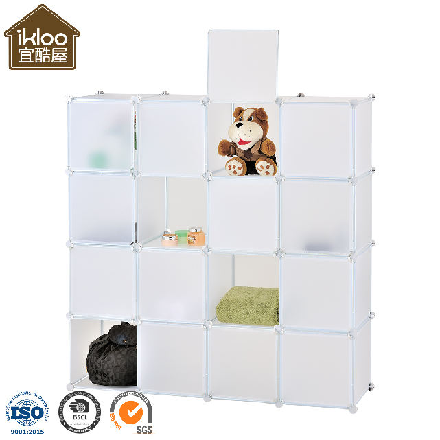 Amazon eBay hot sale wholesale Red PP material 16 Cubes DIY closet storage with doors
