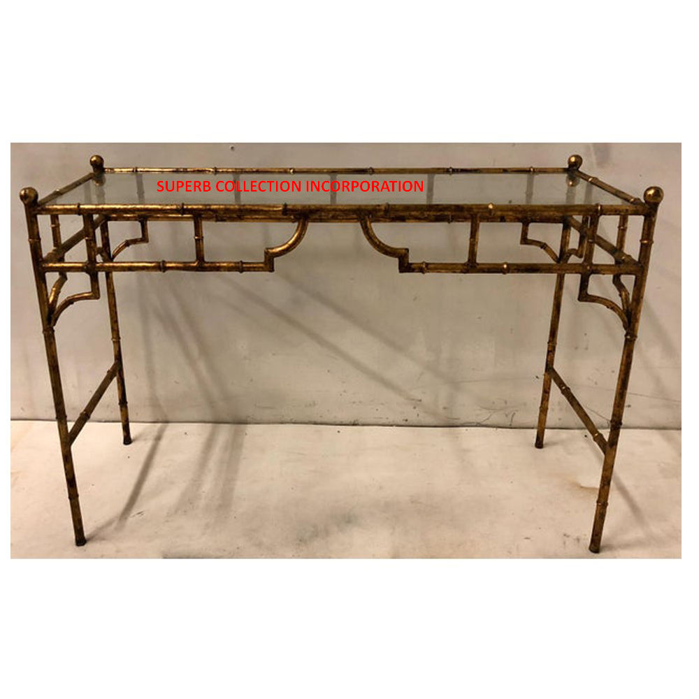 High Quality Gold Mirrored Top Corner Wall Console Table