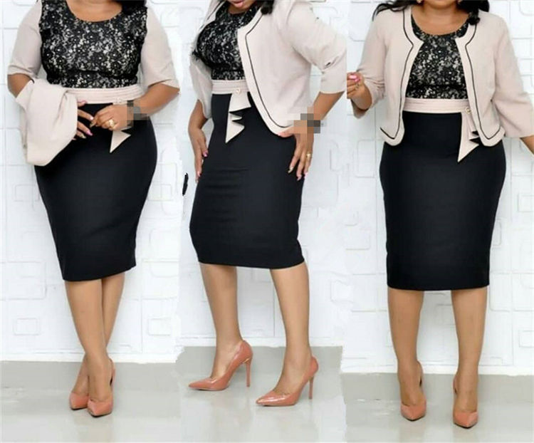 Wholesale formal plus size dresses XL XXL XXXL XXXXL trendy two piece african ladies dress set