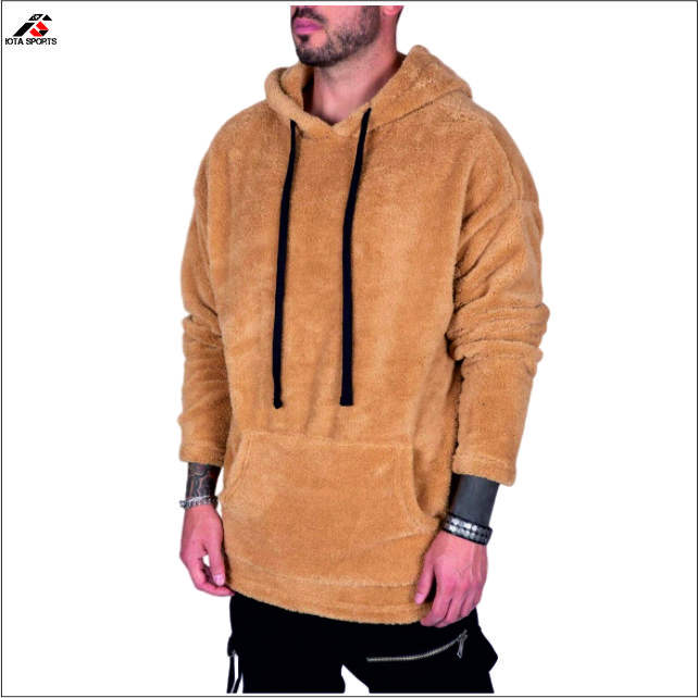 Sand color sherpa hoodies lined fleece pullover drawstring men custom design low moq hoodies