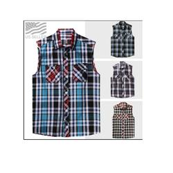 Men's Sleeveless Plaid Shirt Casual Pattern Western Button Down Flannel Top Jersey