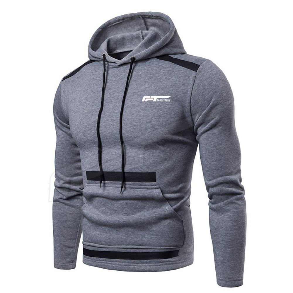 Men Fitted Dark Grey Color Men Hoodies In Reversible Design