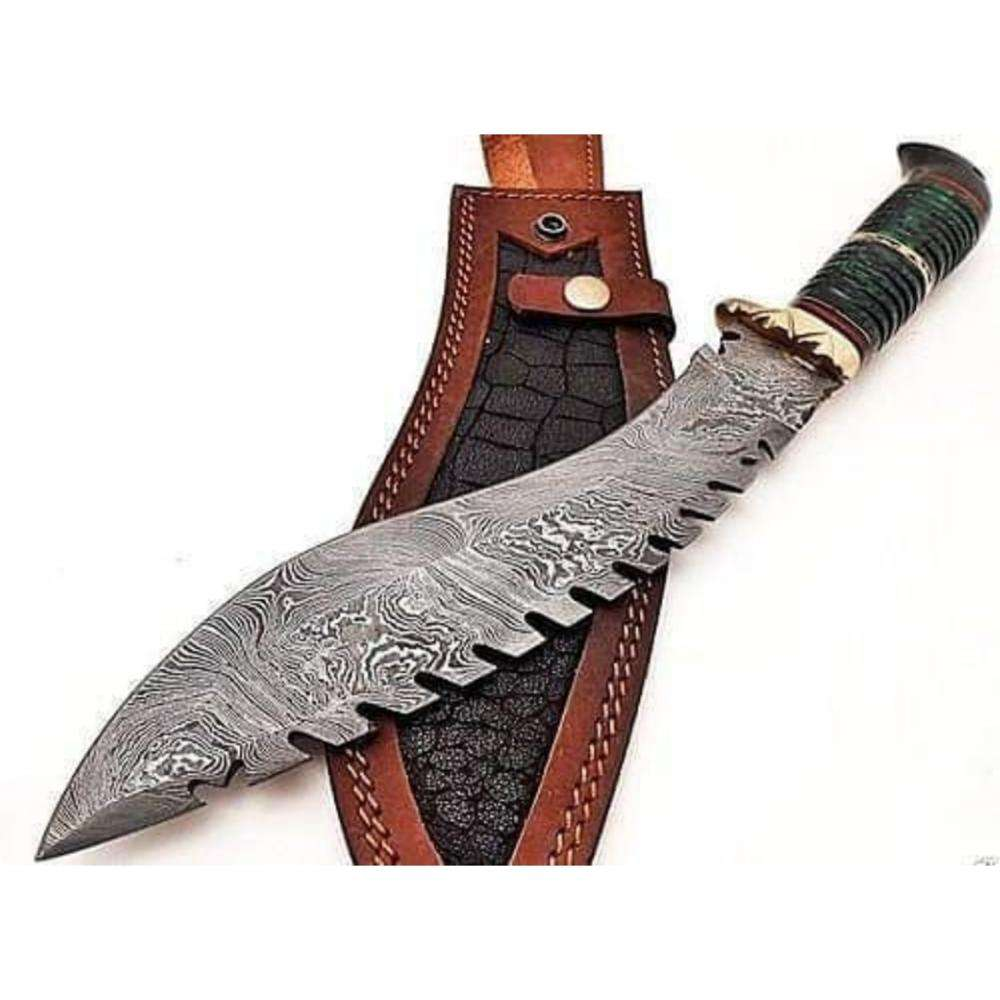 Great Quality Fixed Blade Knife Damascus Steel Buffalo Horn Hunting Kukri Knife (HMZ987)