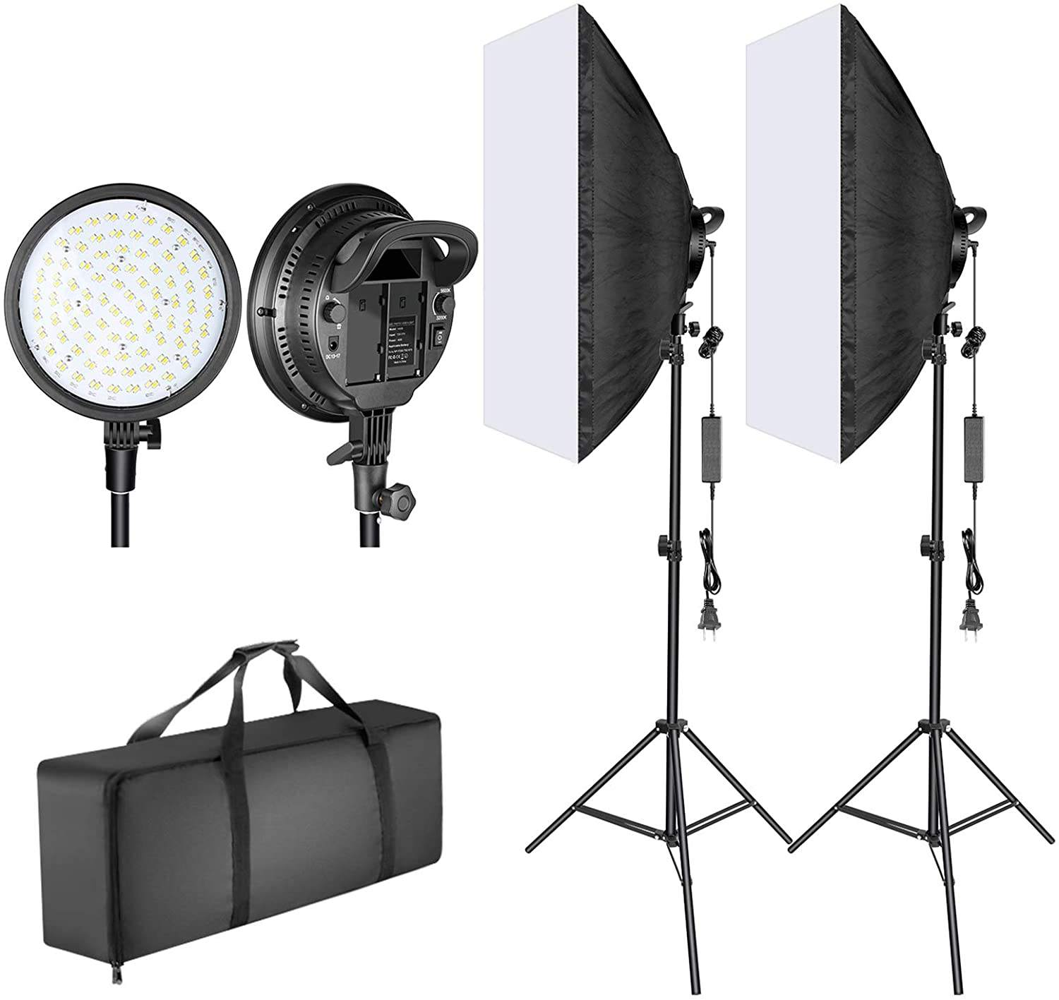 Neewer Led Softbox Verlichting Kit 20X28 Inch Softbox 48W Dimbare 2 Kleur Temperatuur Led Licht Hoofd Batterij