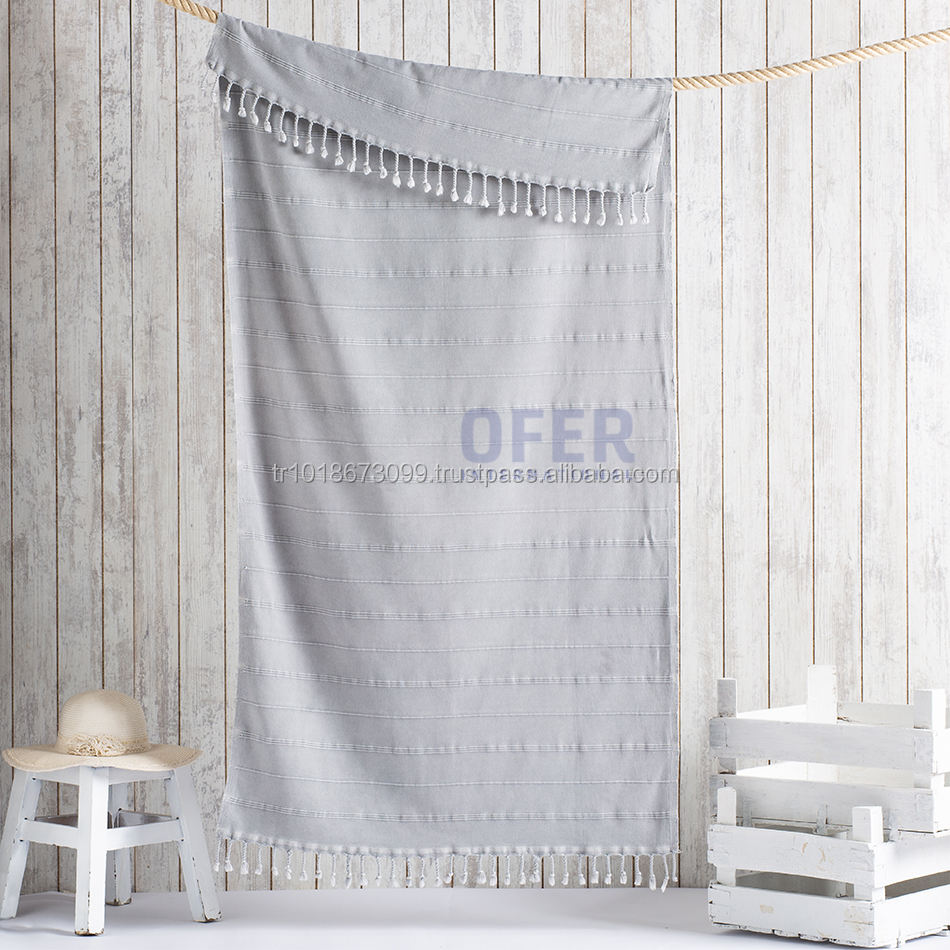 Stonewash Peshtemal Towel - Grey - 40x70inches 100x180cm - Stonewashed, ultrasoft towel, low minimum order