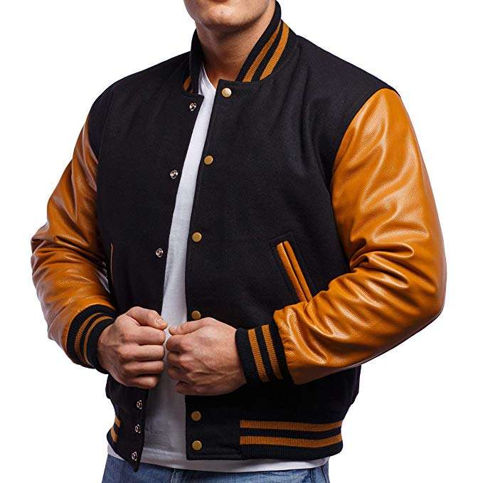 OEM Leather Sleeve Men's Wool Varsity Bomber Jacket Men With Striped Knit Collar