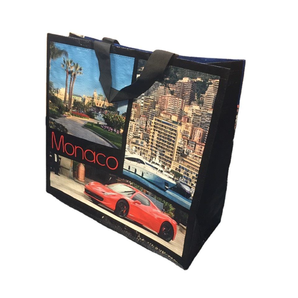 Eco Friendly Reusable Recycled Custom Printed PP Woven Carrier Grocery Shopping Bag