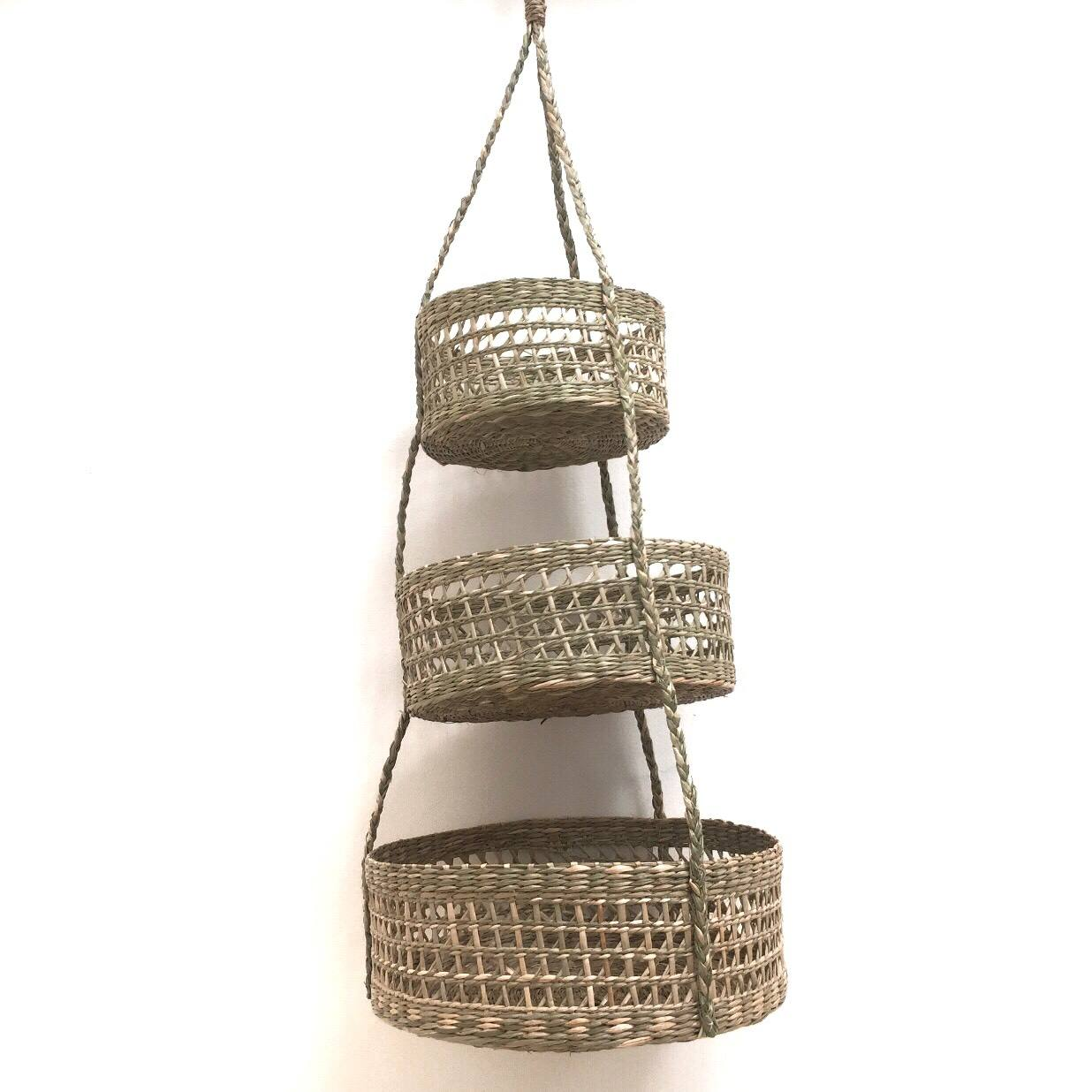 Handmade seagrass basket , Vietnam recycle seagrass basket safe for plant