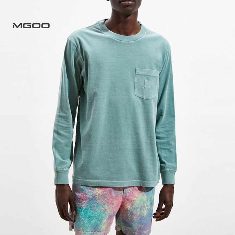 MGOO Customised Patched Streetwear Heavy Weight Blue Cotton Washed Long Sleeve Tee