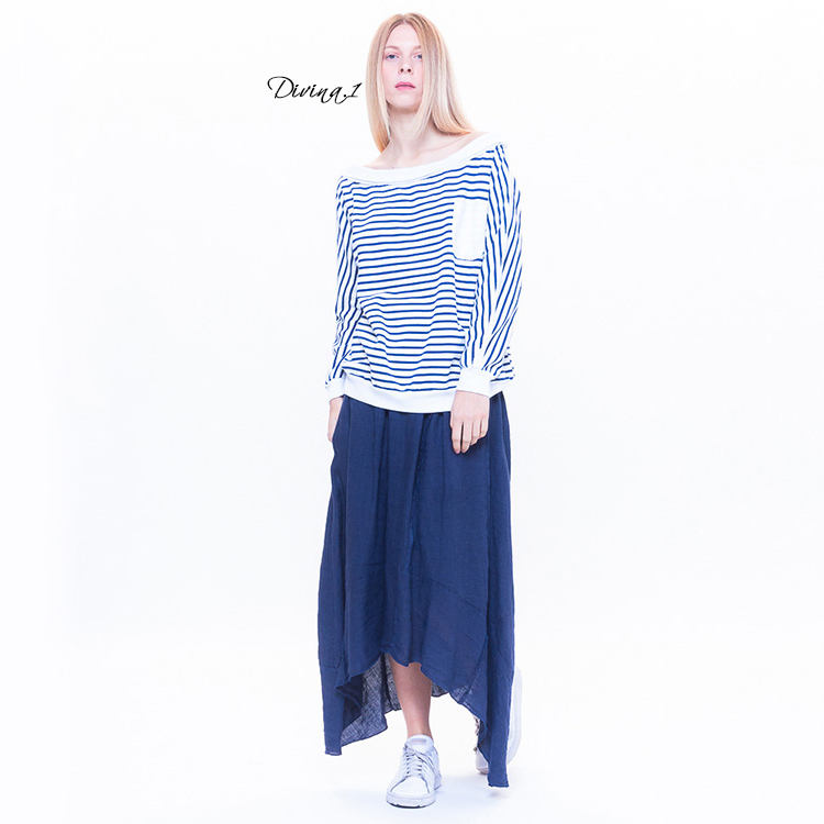 2020 new Italian design blue and white striped navy style ladies long-sleeved shirt with lightning pattern on the back